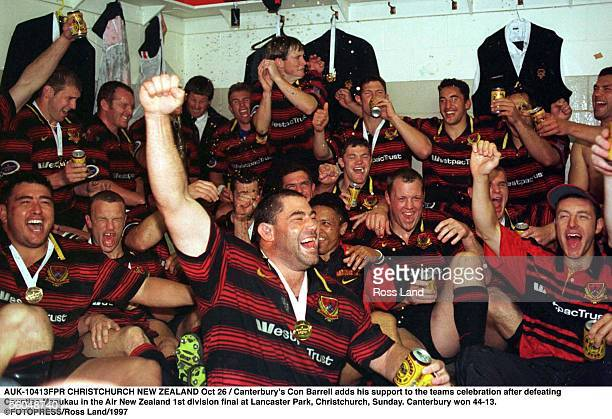 Canterbury's Con Barrell adds his support to the teams celebration after defeating Counties Manukau in the Air New Zealand 1st division final at...