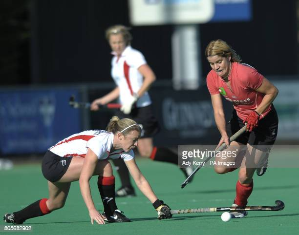 Canterbury's Jen Wilson challenges with Bowdon's Nicky O'Donnell during their EHL Premier League game at polo farm Canterbury 7th November 2009