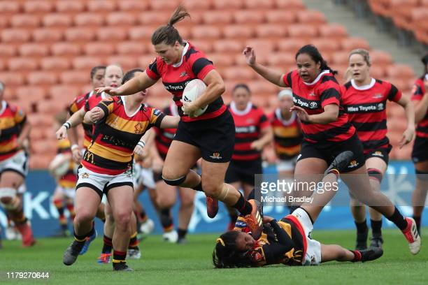 Canterbury's Lucy Anderson makes a strong run during the round 6 Farah Palmer Cup match between Waikato and Canterbury at FMG Stadium on October 06...