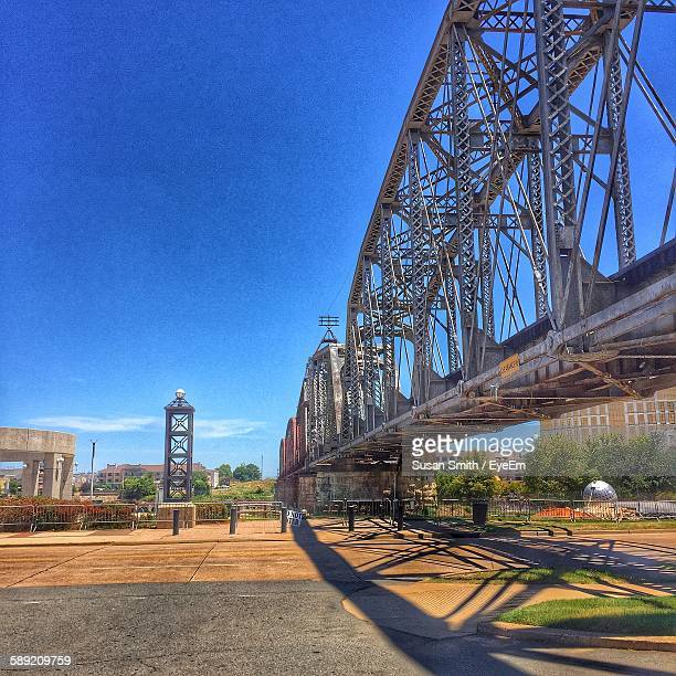 cantilever bridge with shadow against blue sky - shreveport stock pictures, royalty-free photos & images