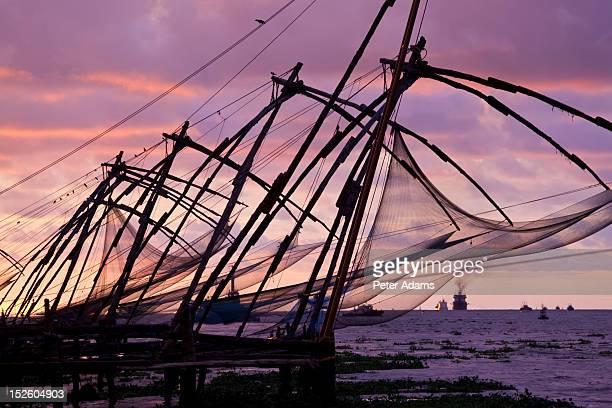 Cantilevered Chinese Fishing Nets, Kerala, India
