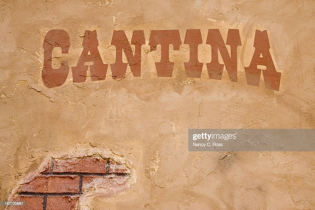 Cantina Sign Outside Bar, Brick Stucco Wall, Rustic, Cinco-de-Mayo : Stock Photo