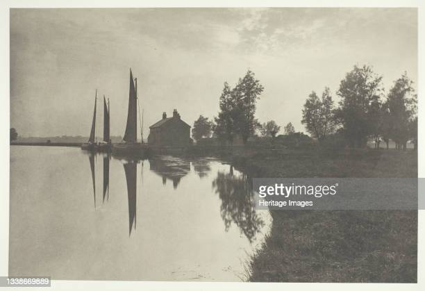Wherries Waiting for the Turn of the Tide, 1886. A work made of platinum print, pl. Xxiv from the album 'life and landscape on the norfolk broads' ;...