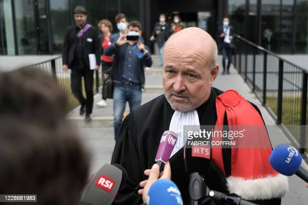 Canton of Vaud attorney general Eric Cottier speaks to journalists outside of the court on September 24 2020 in Renens near Lausanne after the...