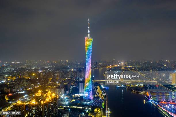 canton tower at night - liyao xie stock pictures, royalty-free photos & images