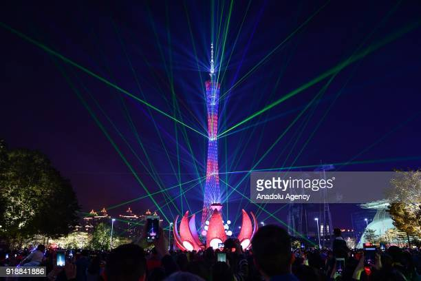 Canton tower displays colorful lighting during the Spring Festival on February 152018 in Guangzhou China The Chinese Lunar New Year also known as the...