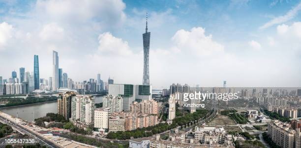 canton tower in guangzhou, cityscape of modern city with high angle view - guangzhou stock pictures, royalty-free photos & images