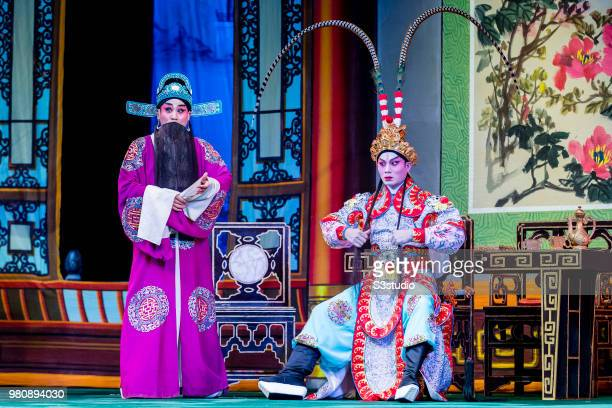 Cantonese opera artists perform on the stage during the opera u2018Lu Bu and Diao Chanu2019 at Sunbeam Theatre Hong Kong on 09 June 2018 in Hong Kong...