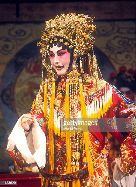 A Cantonese Opera star performs on stage in Hong Kong Chinese opera dates back to the Tang dynasty with Emperor Ming Huang also known as Hsuan Tsung...