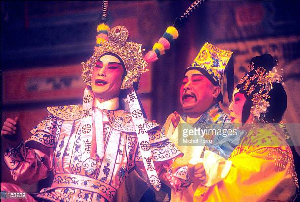 Cantonese Opera stars perform on stage in Hong Kong Chinese opera dates back to the Tang dynasty with Emperor Ming Huang also known as Hsuan Tsung...