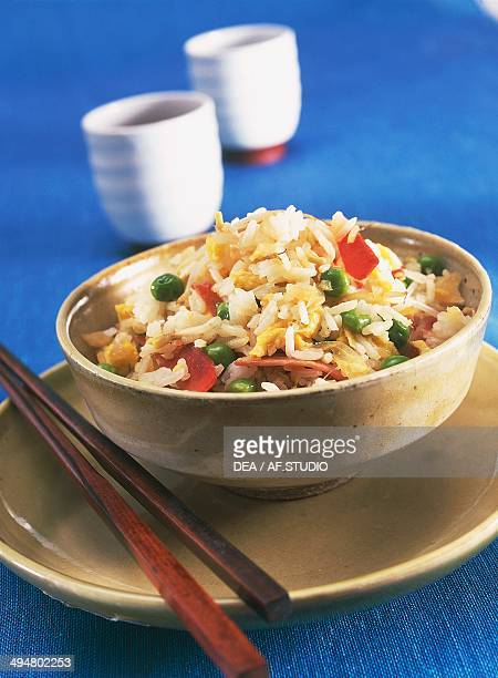 Cantonese rice with eggs peas and ham China
