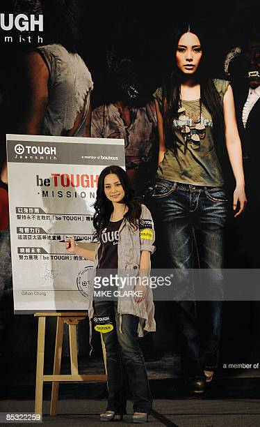 Cantopop star Gillian Chung appears at a promotional event in Hong Kong on March 10 2009 Chung was involved in a high profile scandal in 2008 after...