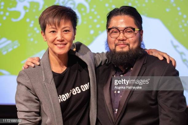 Cantopop star turned political activist Denise Ho Wan-see, also known as HOCC and Chinese political cartoonist Badiucao before the start of the Be...