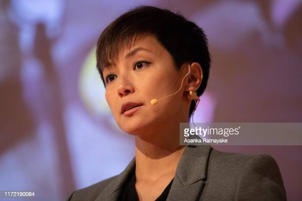 Cantopop star turned political activist Denise Ho Wan-see, also known as HOCC speaks during the Be Water: Hong Kong v China event at Melbourne City...