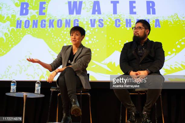 Cantopop star turned political activist Denise Ho Wan-see, also known as HOCC and Chinese political cartoonist Badiucao during the Be Water: Hong...