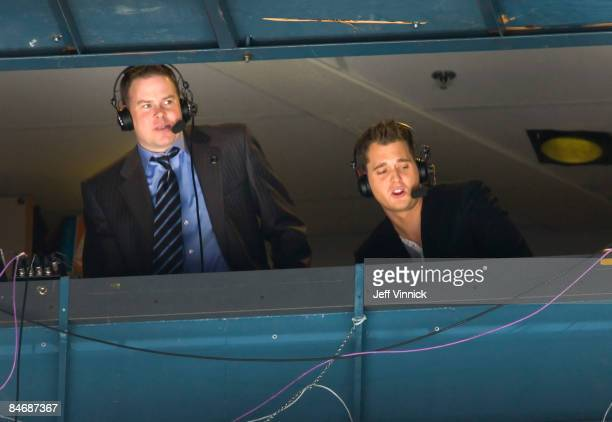 Canucks guest radio color commentator Michael Buble calls the game with play-by-play announcer John Shorthouse during the game at General Motors...