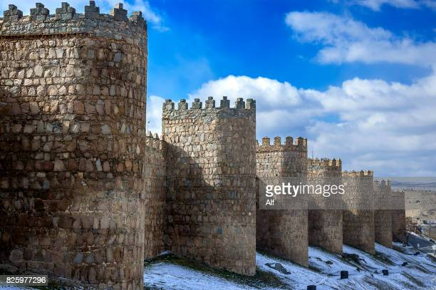 canvases and cubes of san vicente in the wall of avila, spain - fortress stock pictures, royalty-free photos & images