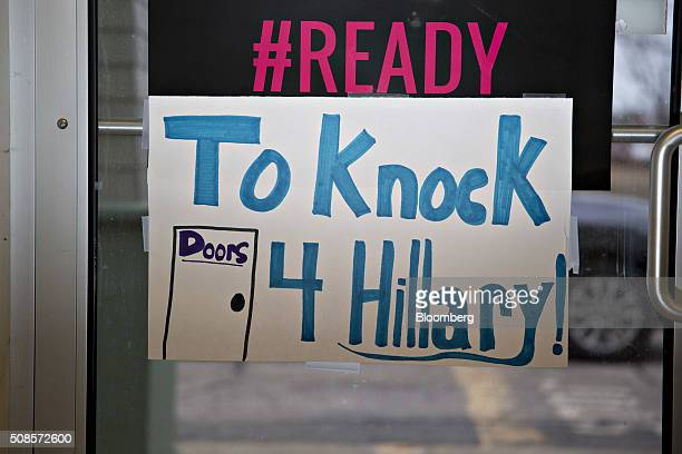 A canvassing sign hangs on a door at the Hillary Clinton former Secretary of State and 2016 Democratic presidential candidate campaign field office...