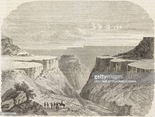A canyon or gorge in the Rocky Mountains United States of America drawing by Dieudonne Lancelot from the Reports of Exploration from The City of the...