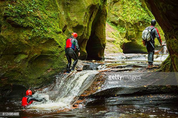 canyoneering at the devil's pulpit - theasis stock pictures, royalty-free photos & images
