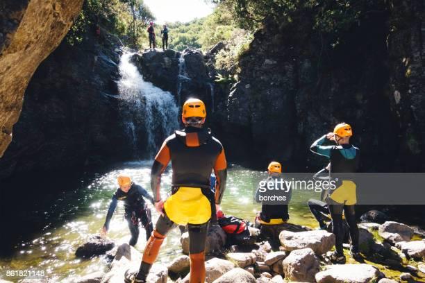 canyoning on madeira island - isola di madeira foto e immagini stock