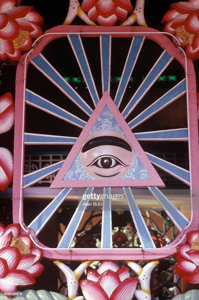 Cao Dai with the eye symbolizing the divine master in Vietnam, in November 1989.