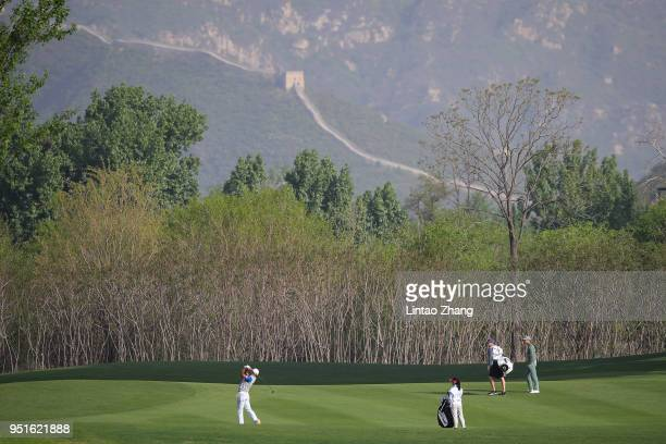 Cao Yi of China plays a shot during the day two of the 2018 Volvo China Open at Topwin Golf and Country Club on April 27 2018 in Beijing China