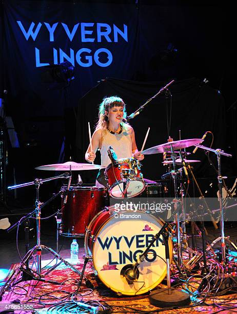 Caoimhe Barry of Wyvern Lingo performs on stage at O2 Shepherd's Bush Empire on June 2 2015 in London United Kingdom