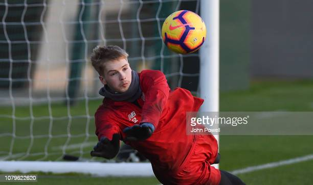 Caoimhin Kelleher of Liverpool during a training session at Melwood Training Ground on January 9 2019 in Liverpool England