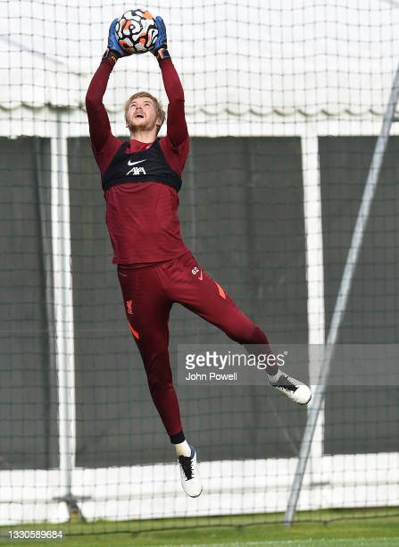 Caoimhin Kelleher of Liverpool during a training session on July 25, 2021 in UNSPECIFIED, Austria.