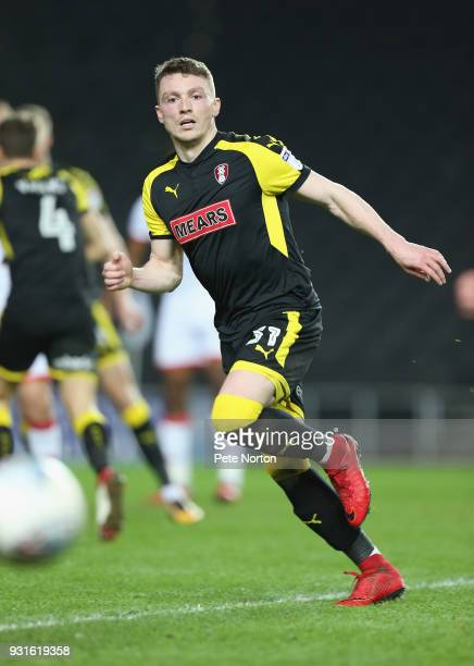 Caolan Lavery of Rotherham United in action during the Sky Bet League One match between Milton Keynes Dons and Rotherham United at StadiumMK on March...