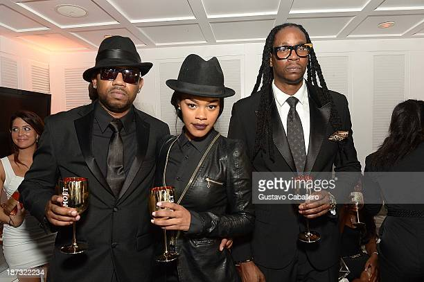Cap 1 Teyana Taylor and and 2 Chainz attend Moet Rose Lounge Miami Hosted By 2 Chainz at Delano South Beach on November 8 2013 in Miami Beach Florida