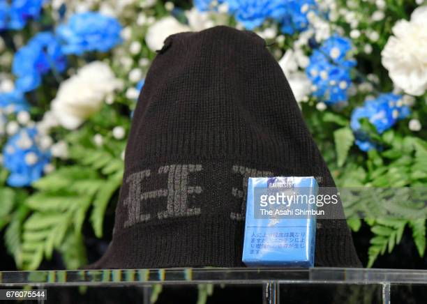 Cap and tabacco are seen at the farewell meeting for late musician Hiroshi Kamayatsu on May 2, 2017 in Tokyo, Japan.