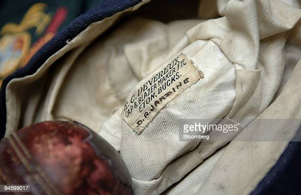 Cap belonging to former England captain Douglas Jardine, who captained the side during the infamous 'BodyLine series' is displayed at the Charles...