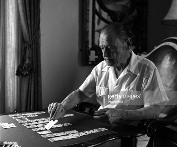 Cap Ferrat France English author Somerset Maugham is pictured playing a game of patience at the Villa Mauresque