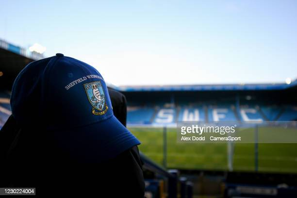 Cap is left on a chair inside Hillsborough Stadium, home of Sheffield Wednesday during the Sky Bet Championship match between Sheffield Wednesday and...
