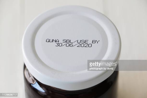 cap of jam jar - written date stock pictures, royalty-free photos & images