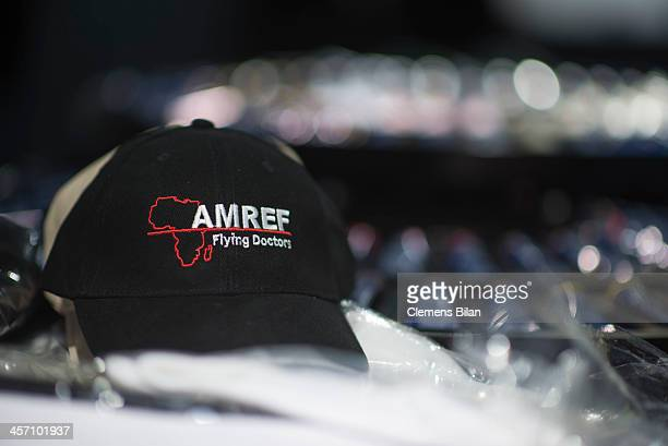 A cap with the AMREF logo lies on a desk during a shoot for AMREF in Salon Shan Rahimkhan on December 16 2013 in Berlin Germany