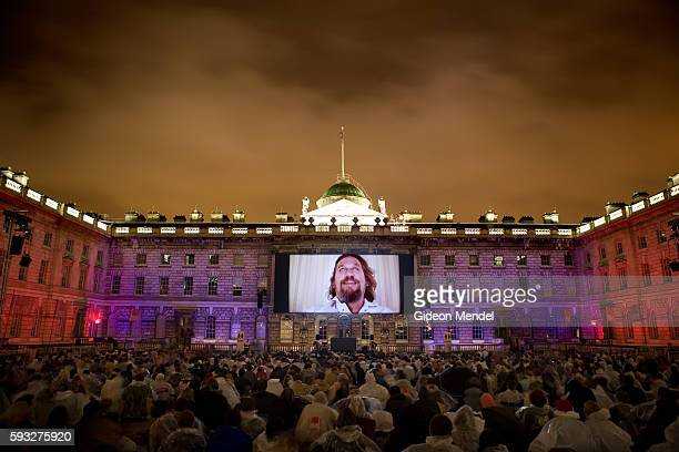A capacity audience of 2000 moviegoers watch the Coen brother's cult film 'The Big Lebowski' on a giant screen within the majestic backdrop of the...