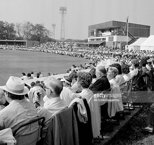 A capacity crowd of 9000 people watching the Gillette Cup 3rd round match between Essex and Gloucestershire at the County ground in Chelmsford 1st...