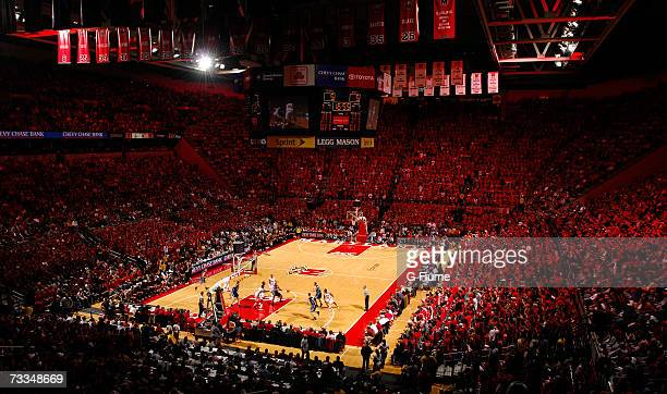 A capacity crowd watches the game between the Duke Blue Devils and the Maryland Terrapins at the Comcast Center on February 11 2007 in College Park...