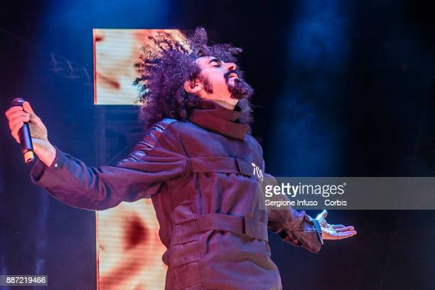 Caparezza performs at Mediolanum Forum on stage on December 6, 2017 in Milan, Italy.