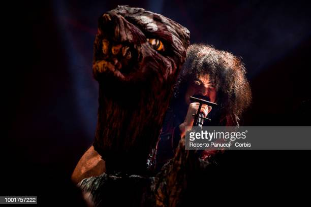 Caparezza performs on stage on July 16 2018 in Rome Italy