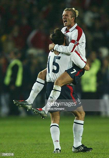 Capatin David Beckham of England celebrates with Frank Lampard after England's draw with Turkey in the UEFA European Championships Group Nine...