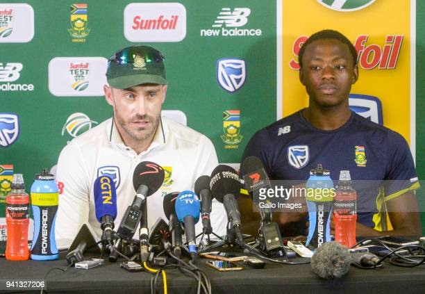 Capatin Faf du Plessis and Kagiso Rabada during day 5 of the 4th Sunfoil Test match between South Africa and Australia at Bidvest Wanderers Stadium...