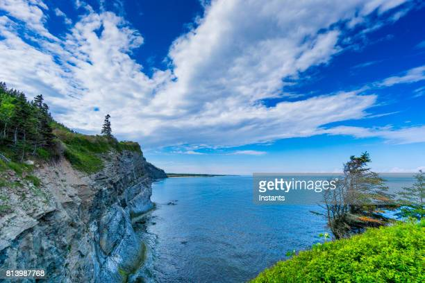 cap-bon-ami (translates to good friend cape in english) in forillon, one of canada's 42 national parks and park reserves, situated near gaspé, eastern québec. - forillon national park stock pictures, royalty-free photos & images