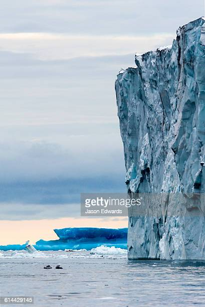 The tortured ice of the fracture zone of a glacier tongue in Antarctica.