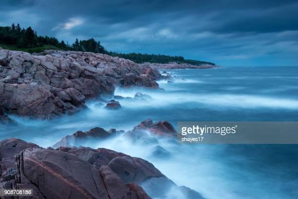 cape breton rocky coastline - cape breton island stock pictures, royalty-free photos & images