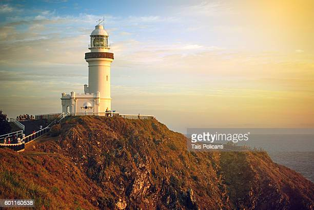 Cape Byron Lighthouse on a cliff at sunrise, Byron Bay, Australia, Oceania