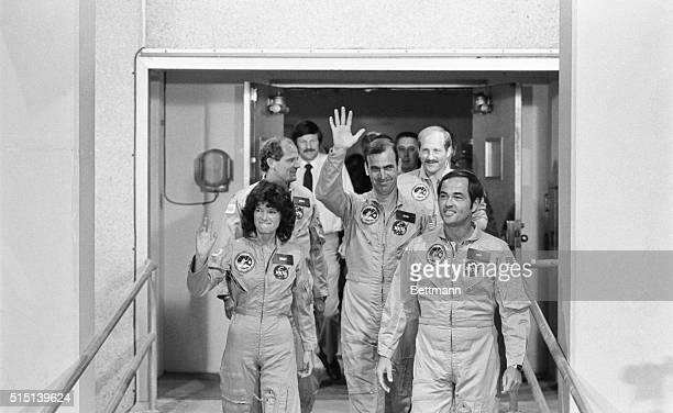 Cape Canaveral America's first woman to be launched into space Sally Ride waves along with John Fabian as STS7 commander Robert Crippen leads his...